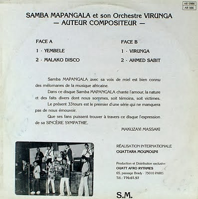 Samba Mapangala and Orchestre Virunga - Samba Mapangala Et Son Orchestre Virunga_Back_Francia