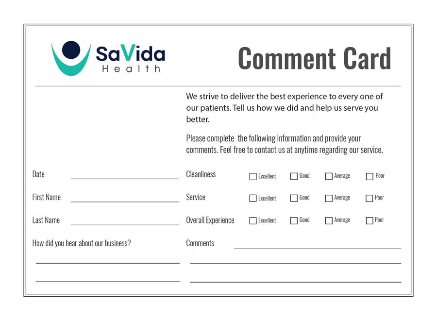 Sample Comment Card