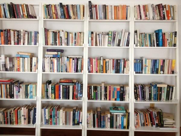 White Bookshelves with Books