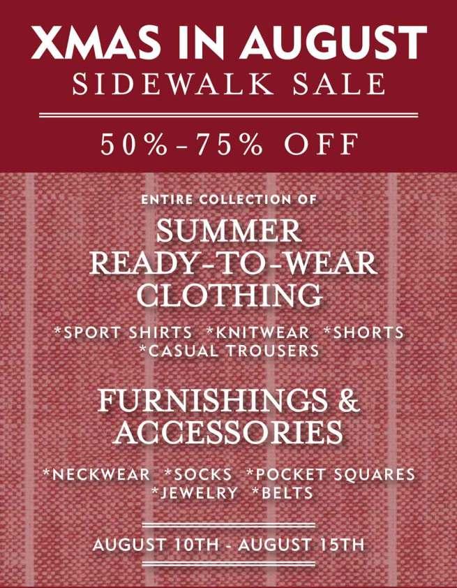 Savile Row Sidewalk Sale!
