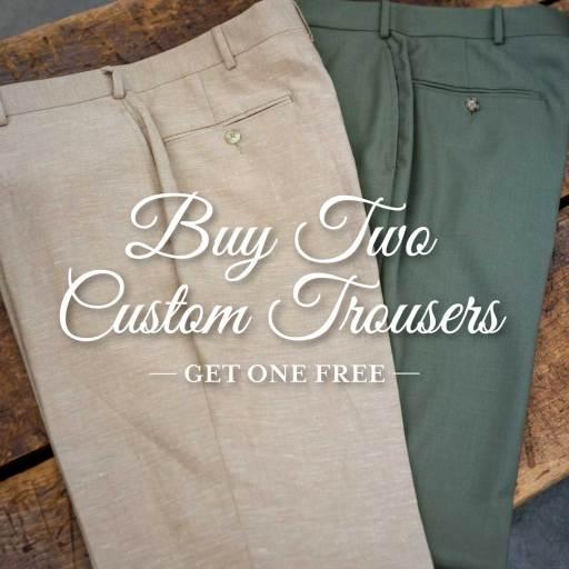 Savile Row Promotional Photo: Buy Two Pair of Custom Pants, Get One Free