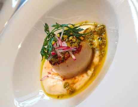 GMT義大利餐廳前菜-香煎干貝佐白花菜泥
