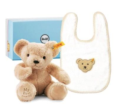 安撫娃娃 My First Steiff Gift 圍兜+安撫玩偶 圖片來源:Steiff 德國泰迪熊
