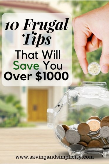 Wouldn't it be great to have an extra $1000 in your pocket? These 10 frugal tips will help you save over $1000. Learn simple tips to help you save money.