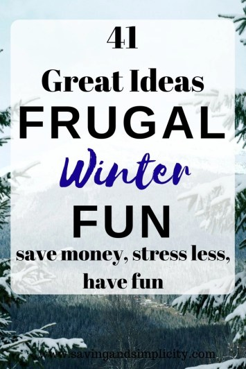 Sledding, skating, hot cocoa and a good book. Do any of these sound like fun? 41 fun frugal winter activities await you. Have fun and save money.