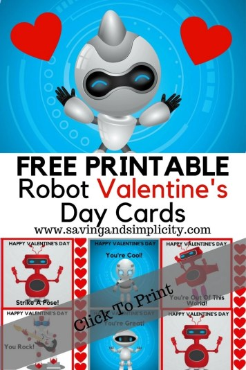Robots are cool! So are free money saving printables. Free Robot Valentine's Day card printables for kids. Save money, live frugally and print your Valentine's Day cards at home.