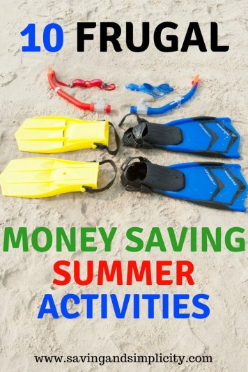 Summer means longer lazy days, picnics in the park and barbecue dinners. Learn 10 frugal money saving summer activities. Frugal family fun. No spend weekends. Cheap kids activities.