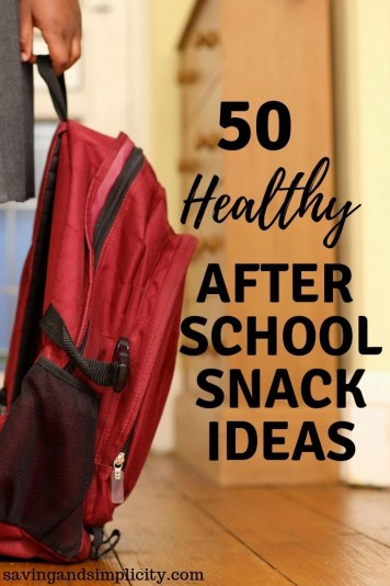 50 healthy after school snack ideas. Easy to make, kid friendly snacks. Granola, fruit slices, vegetables, chocolate bananas, avocado toast and more.