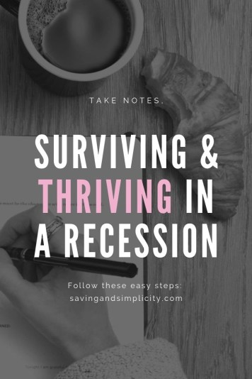 Learn how to survive the recession. What actually happens during a recession and how to save money. Learn how to cut your household expenses, live frugally and get ahead.
