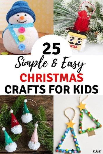 25 easy and simple Christmas crafts for kids. Nothing says craft time like glitter and glue. Candy cane reindeer, elfs, gnomes, snowman, beads and tissue paper galor. Christmas craft advent.