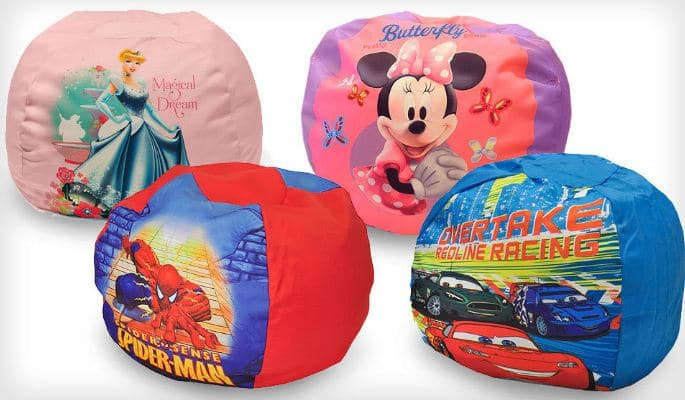 comfy kid chairs tall patio character bean bag $25 shipped! minnie mouse, cars 2, princess, and spider-man!