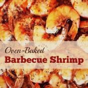 This easy and delicious oven-baked BBQ Shrimp recipe is perfect for game day or any occasion! It's one of our favorite shrimp dinners.
