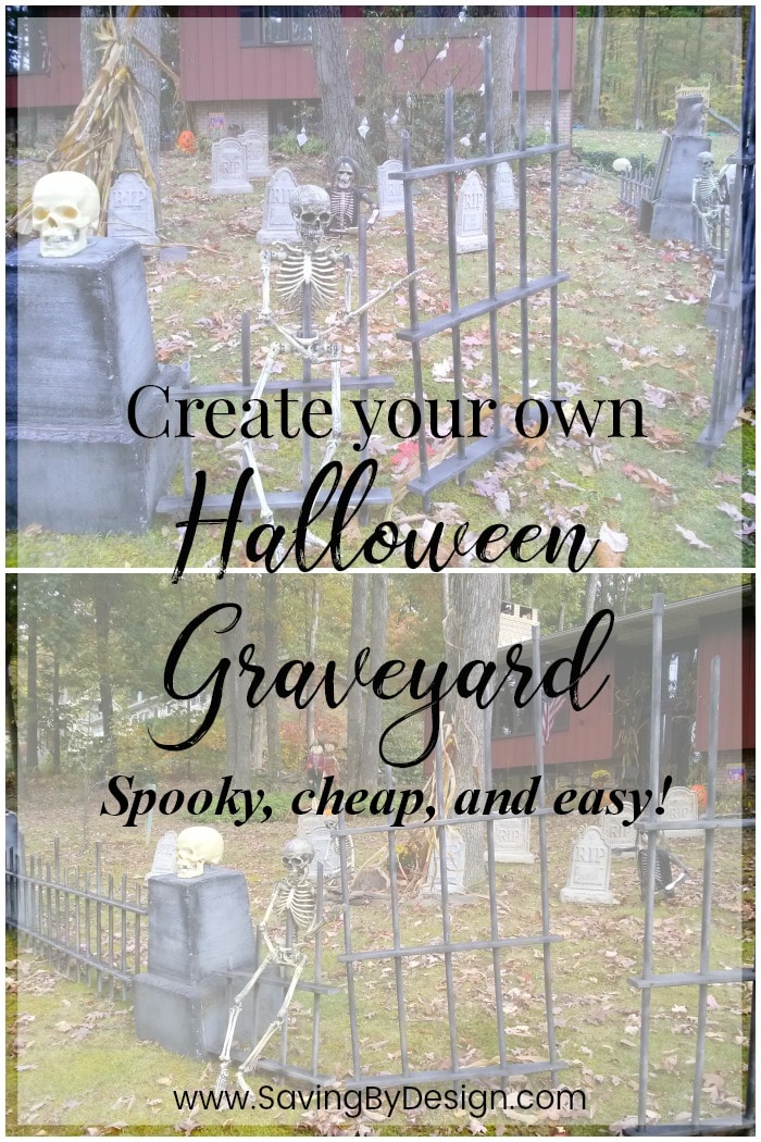 Create your very own spooky, cheap, and easy diy Halloween graveyard fence and be the talk of the block this year!
