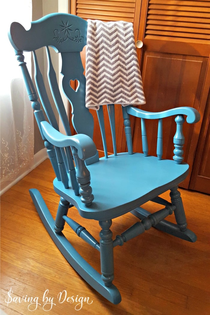 Our nursery rocking chair was in need of a makeover for our third child...so I figured out how to spray paint a wooden rocking chair for less than $10!