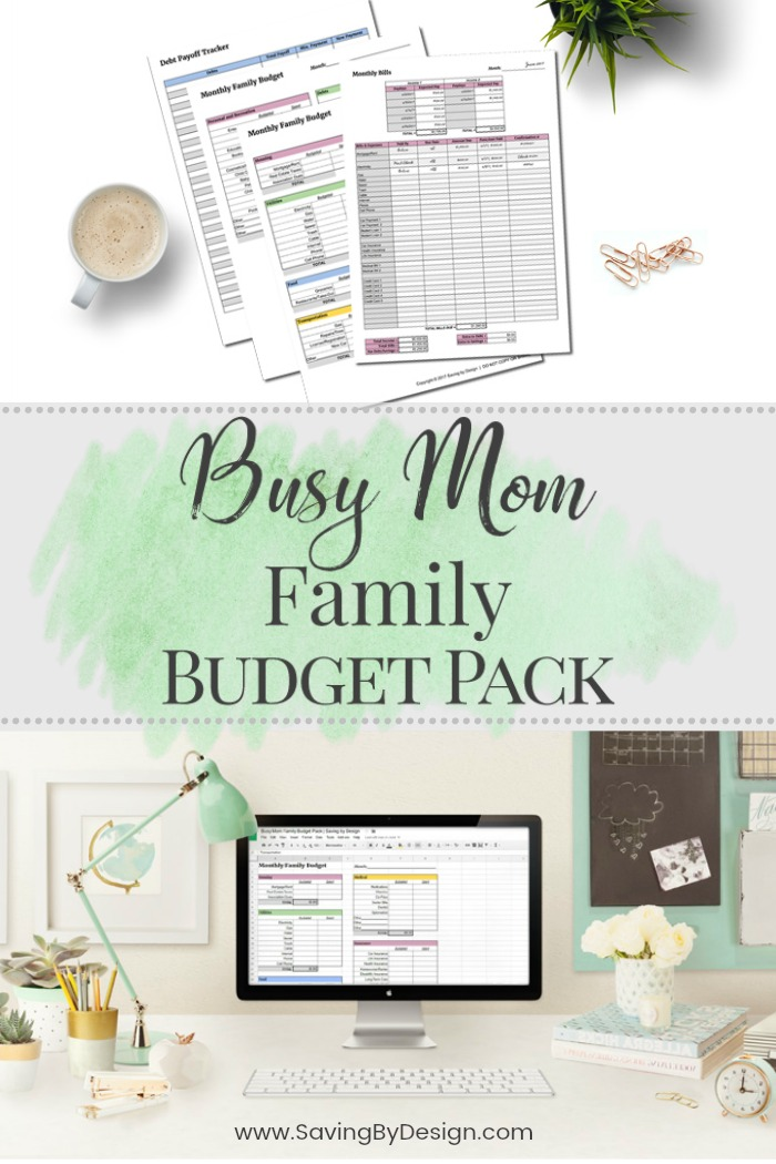 The Busy Mom Family Budget Pack is a simple, yet effective, way to track income and monthly bills, create a budget that works, and pay down burdensome debt.