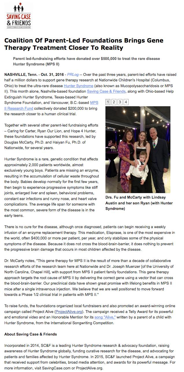 Press Release - SC&F Nationwide donation