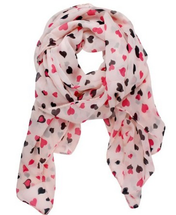 Amazon Deal: Pink Love Hearts Chiffon Scarf ONLY $2.46 Includes Shipping!!