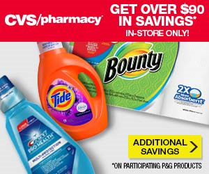 Save over $90 in savings on your favorite P&G brands At CVS!