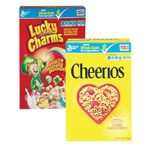 lucky charms and cheerios