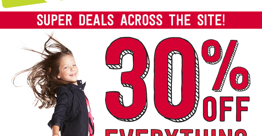Crazy 8 – For a limited time only, get 30% off everything Plus Free Shipping!