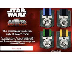 4 Free Star Wars Medals at Toys R Us!