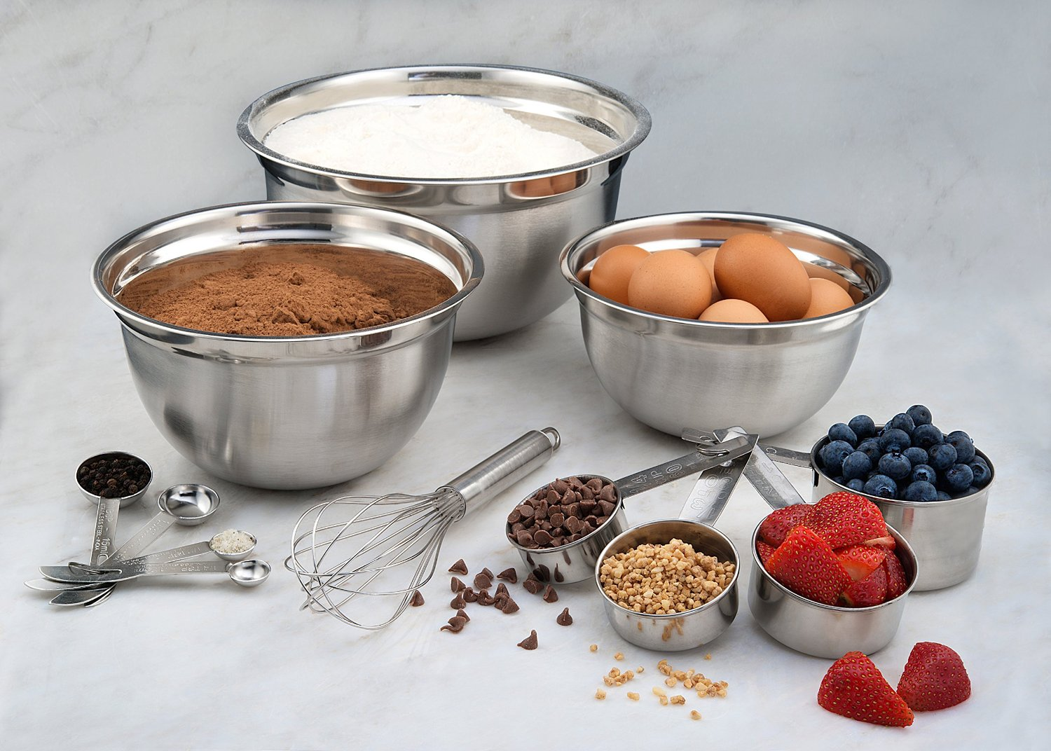 12 Piece Stainless Steel Mix & Measure Combo Set, Measuring Cups, Measuring Spoons and Mixing Bowls (only $16.99)
