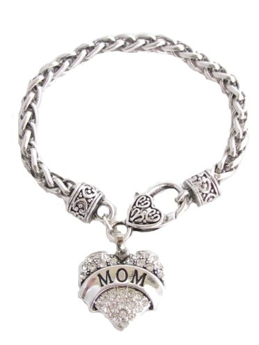 Mom Clear Crystals Fashion Lobster Claw Heart Bracelet