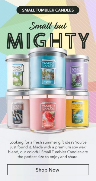 Yankee Candle – Buy 1 Small Tumbler Candle & Get 1 Free (Reg. $17 ea)