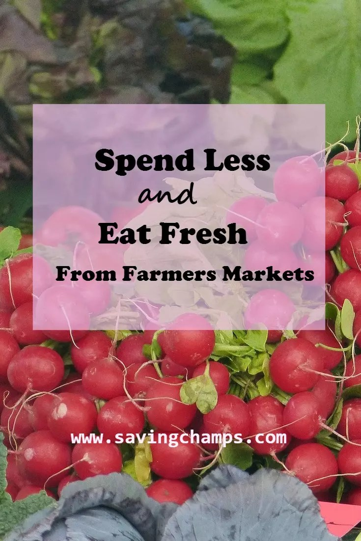 We share tips on how to save money and eat fresh from farmers markets. Buying in bulk and sharing cost with others so you can save money at farmers markets.   save money on groceries.