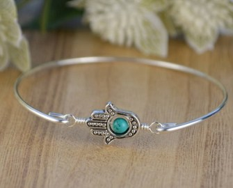 Turquoise, and Sterling Silver Filled Wire Wrapped Bangle