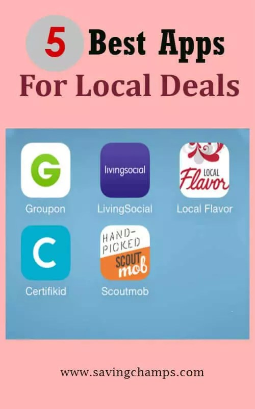 Use these 5 best local deals apps to find great deals for restaurants, spas, leisure activities, and more in a local area. | apps, save money, find deals, frugal living.