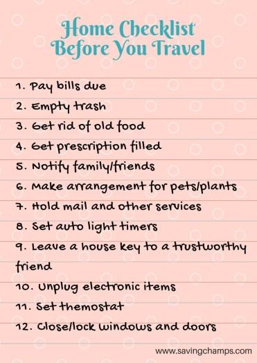 travel checklists