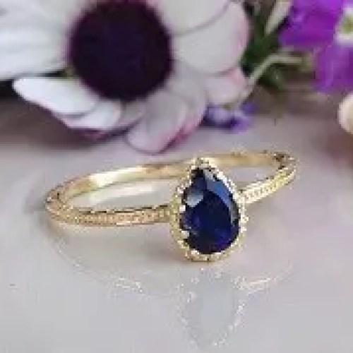 Blue Sapphire ring - Slim