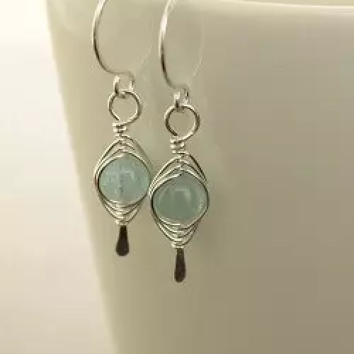 Pale blue aquamarine sterling silver earrings