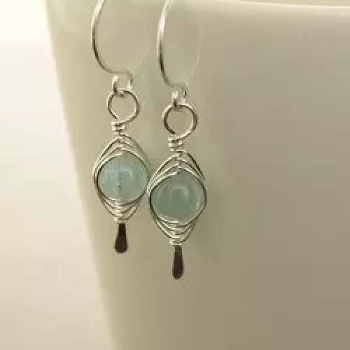 Pale blue aquamarine sterling silver earrings
