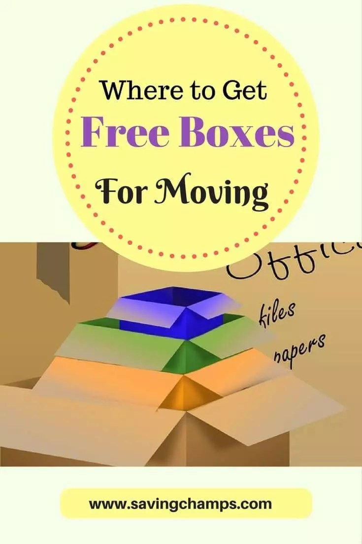 Here is a list of places where you can get free moving boxes. Use those ideas to get boxes for free for your next moving day. | free stuff, free moving boxes, frugal living, save money, save money on moving.