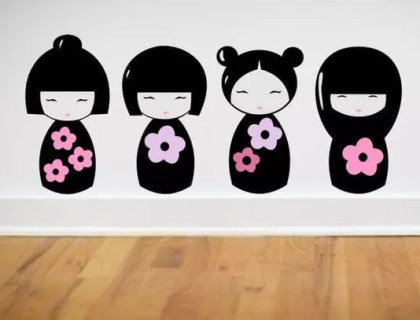 Kokesha Dolls Wall Decals