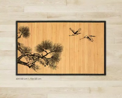 Bamboo rug - Cranes illustration in black and grey, Art Mat
