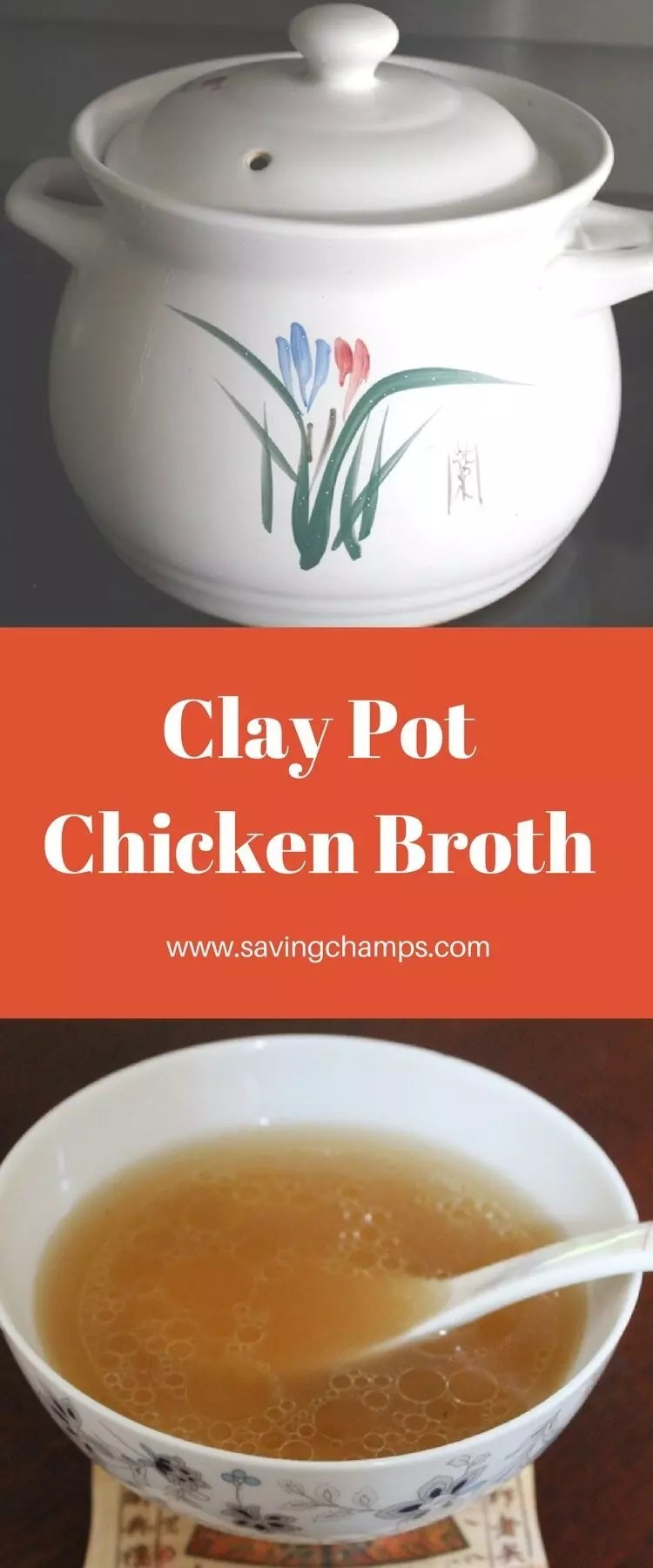 A recipe for clay pot chicken broth. Clay pots allow even heat distribution and slow gentle cooking, which can retain the best flavor and nutrition. clay pot chicken recipe; chicken broth; chicken soup; Chinese-style soup.