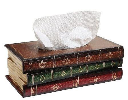 Best Gifts for Book Lovers Antique Book Design Wood Bathroom Facial Tissue Dispenser