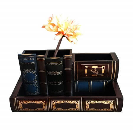 Best Gifts for Book Lovers_Decorative Wooden Pencil Holders Desk Organizer
