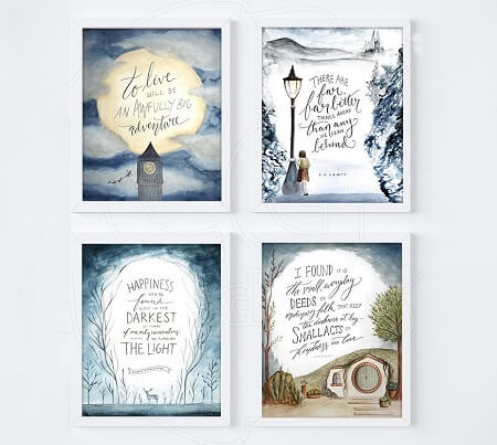 Best Gifts for Book Lovers_Set of 4 Book Lover Art Prints