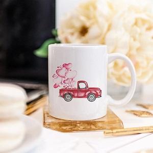 Valentine Red Truck Mug