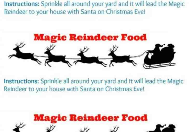 Free Reindeer Food Bag Toppers