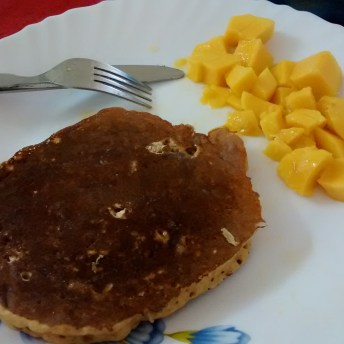pancakes and mango