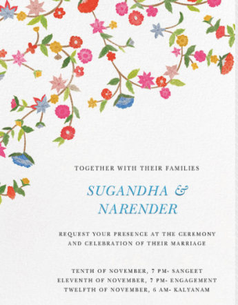 Sugandha & Naren's wedding Invitation