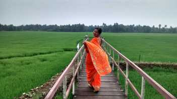 Sugandha posing in paddy fields