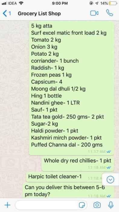 Grocery order via whatsapp