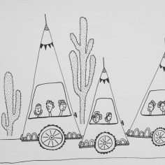 Brina Schenk art illustration - Women with Buns in Triangle cars