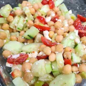 Cucumber Feta Chickpea Salad